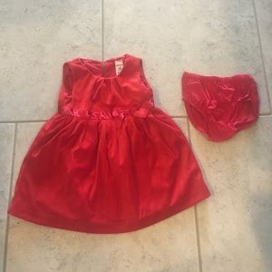 Carter's red holiday dress, size 12 months